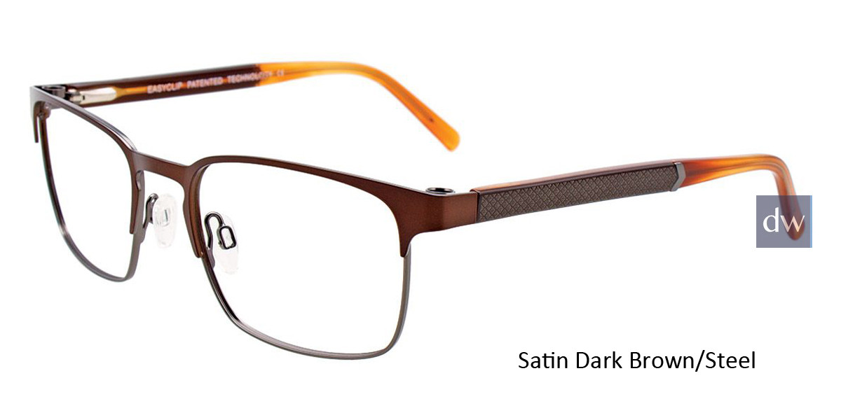 Satin Dark Brown/Steel Easy Clip EC452 Eyeglasses - (Clip-On).