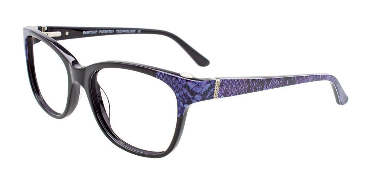 Black/Lavender Snake Pattern Easy Clip EC464 Eyeglasses - (Clip-On).