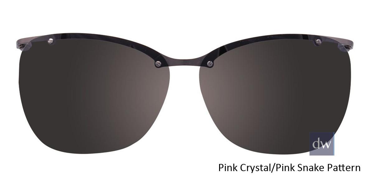 Pink Crystal/Pink Snake Pattern Easy Clip EC464 Eyeglasses - (Clip-On).
