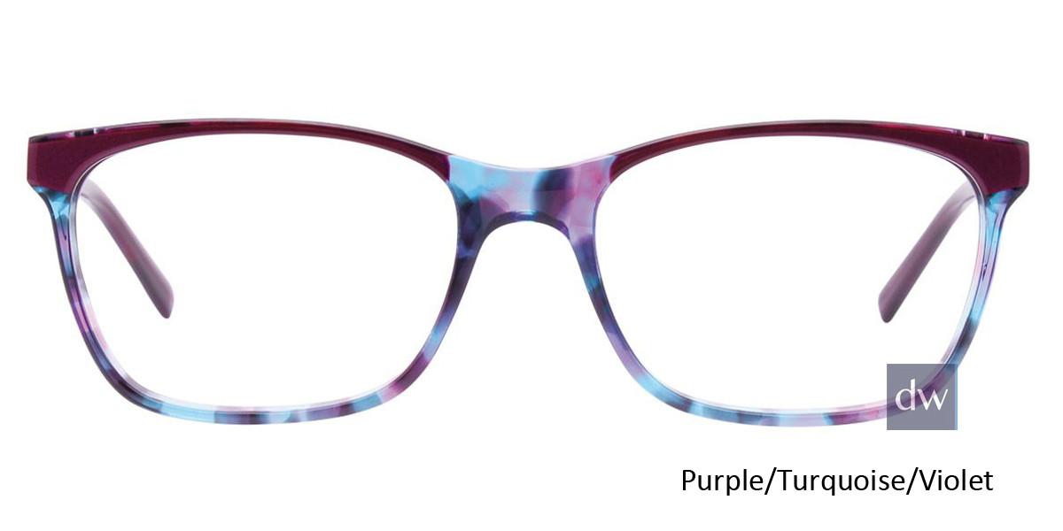 Purple/Turquoise/Violet Easy Clip EC448 Eyeglasses - (Clip-On).