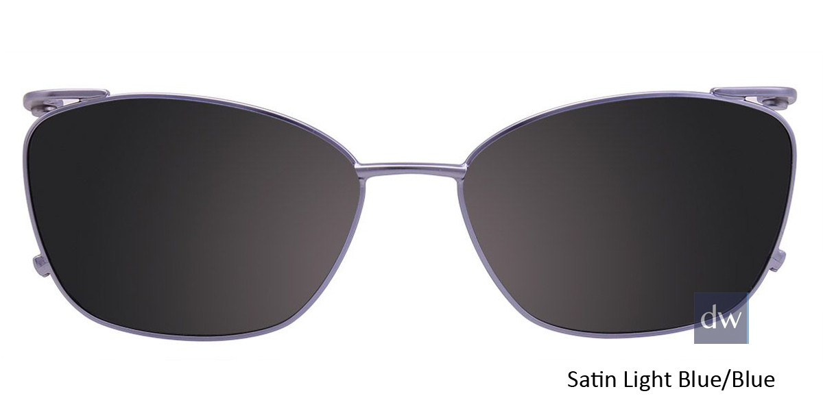 Satin Light Blue/Blue Easy Clip EC442 Eyeglasses - (Clip-On).