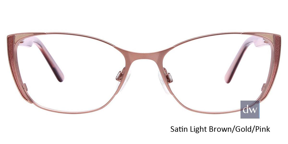 Satin Light Brown/Gold/Pink Easy Clip EC442 Eyeglasses - (Clip-On).