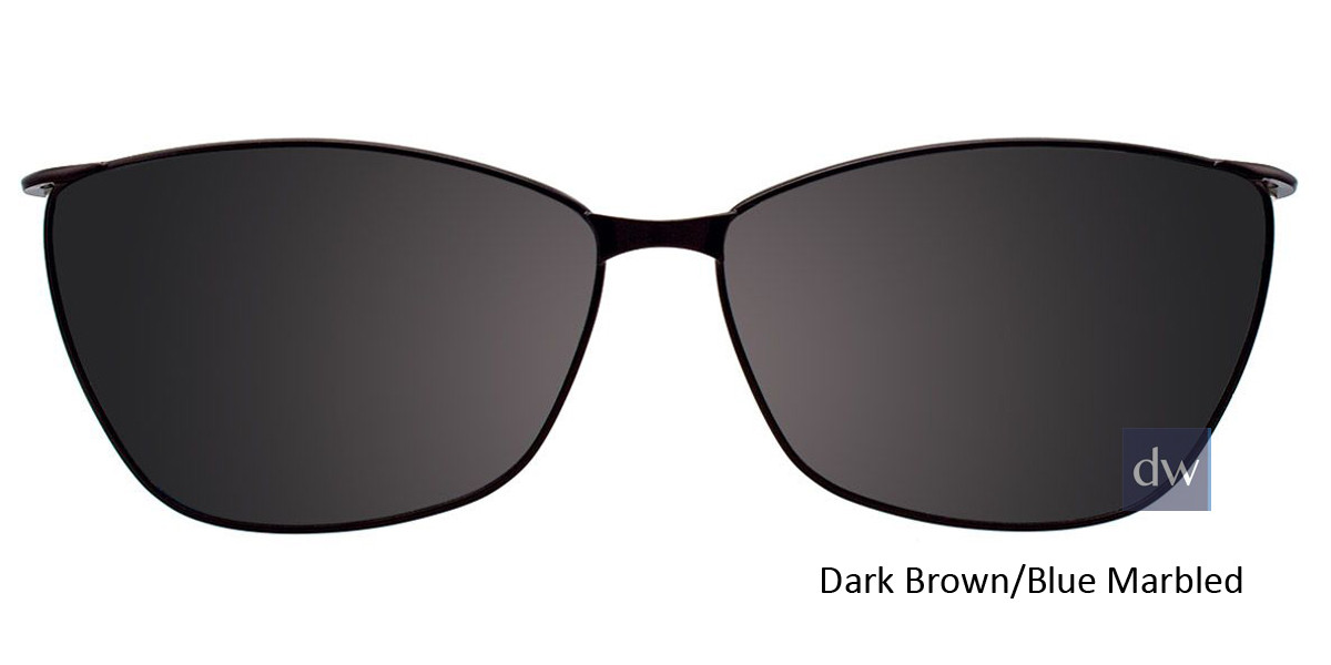 Dark Brown/Blue Marbled Easy Clip EC428 Eyeglasses - (Clip-On).