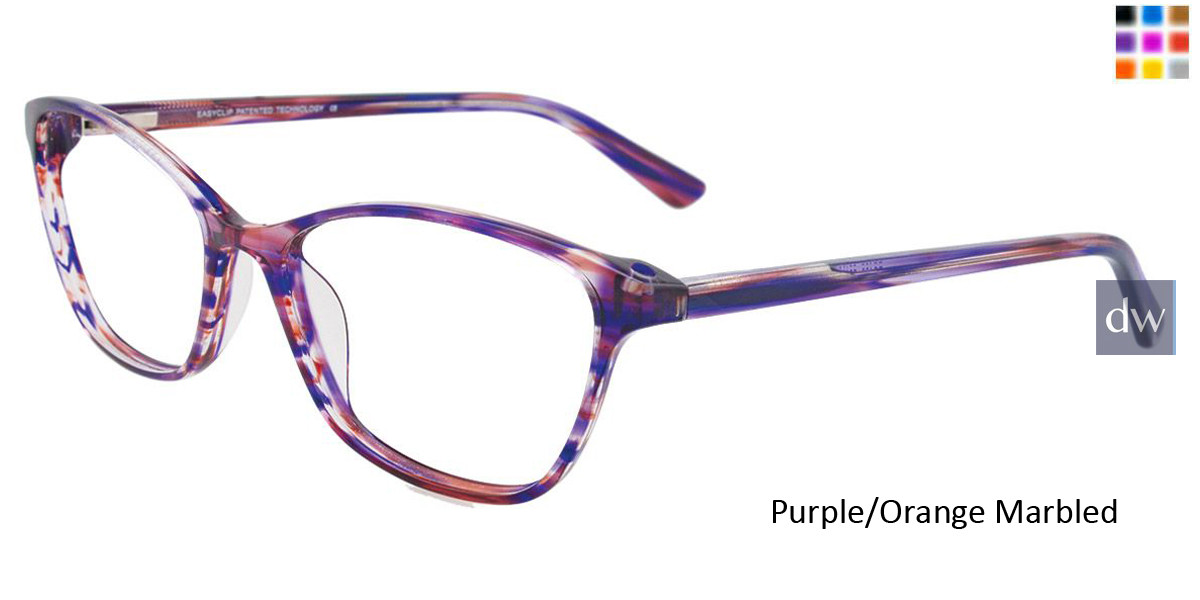 Purple/Orange Marbled Easy Clip EC428 Eyeglasses - (Clip-On).
