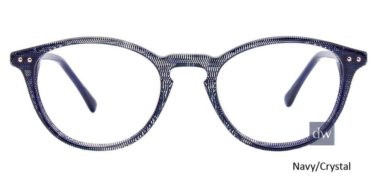 Navy/Crystal Easy Clip EC443 Eyeglasses - Teenager - (Clip-On).