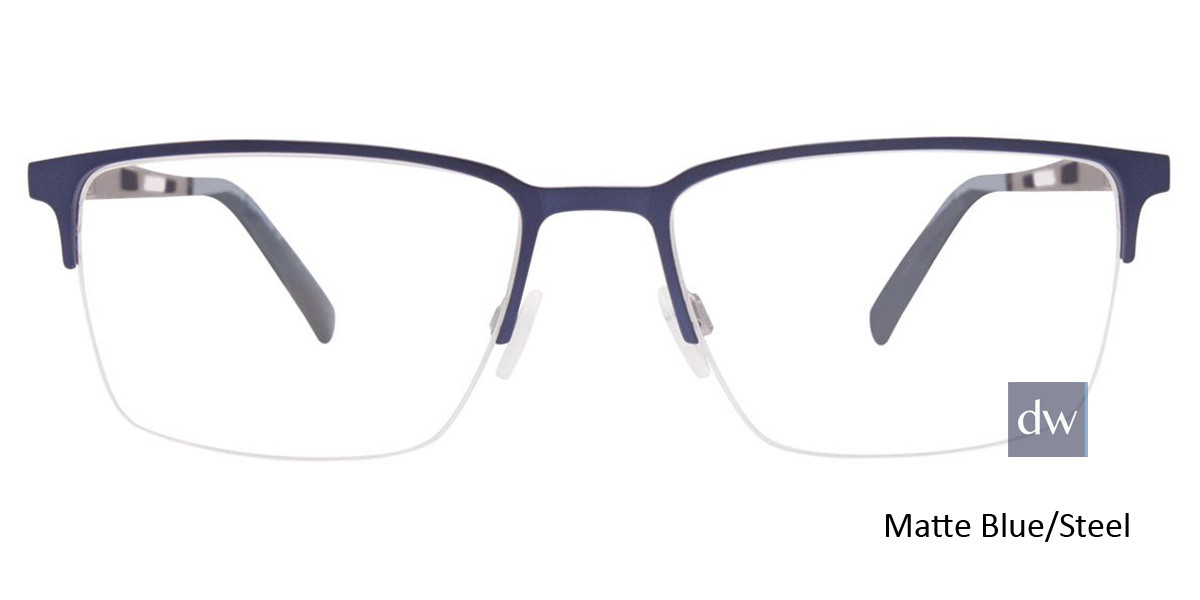 Matte Blue/Steel Easy Clip EC459 Eyeglasses - (Clip-On).