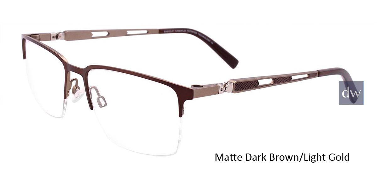 Matte Dark Brown/Light Gold Easy Clip EC459 Eyeglasses - (Clip-On).