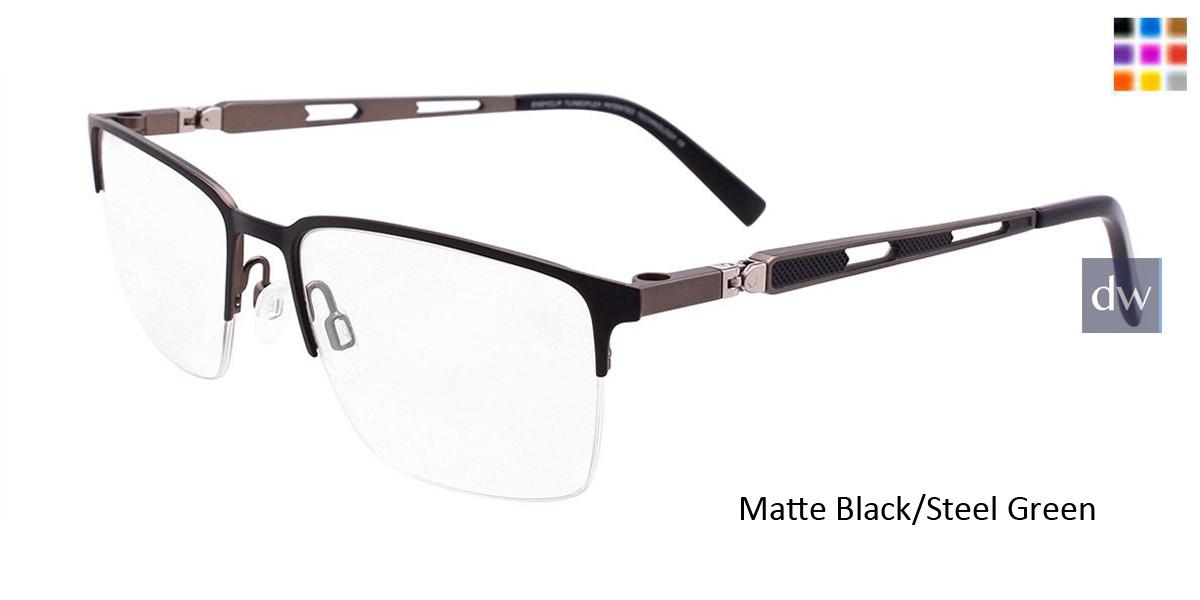 Matte Black/Steel Green Easy Clip EC459 Eyeglasses - (Clip-On).