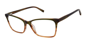 Olive/Brown Kate Young For Tura K338 Eyeglasses.