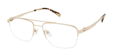 C01 Shiny Dark Gold Tlg NU038 Titanium Eyeglasses.