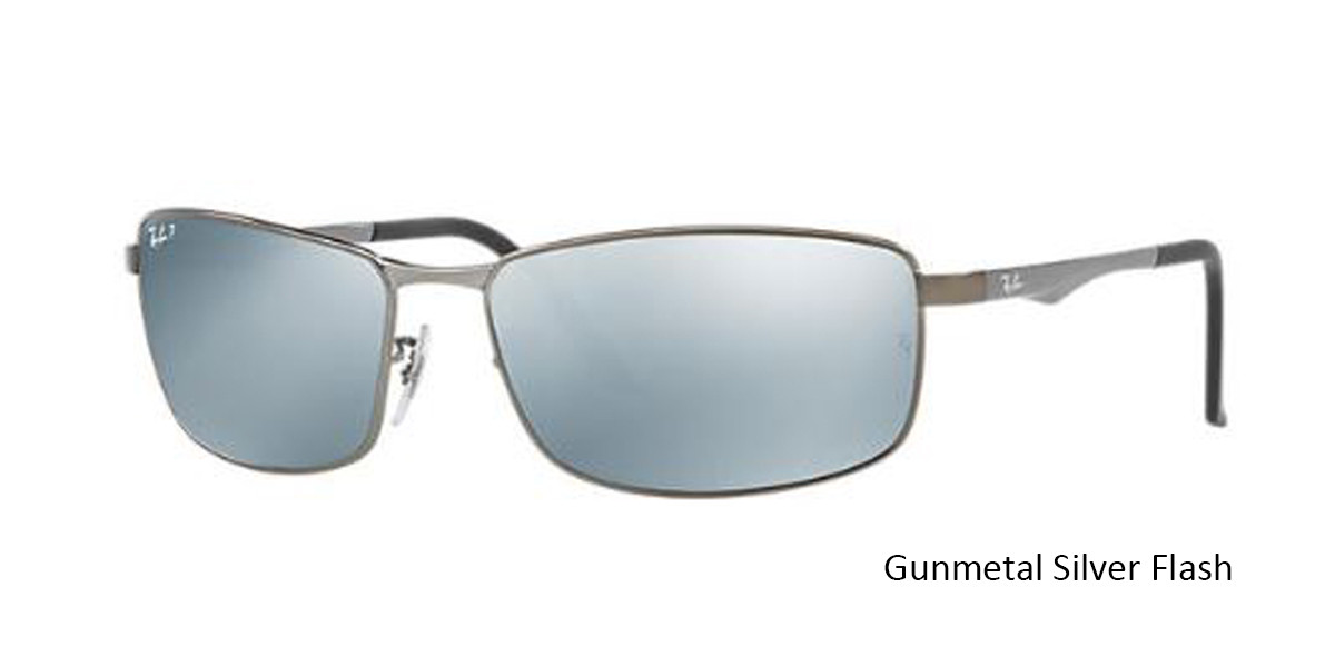 Gunmetal Silver Flash RayBan RB3498 Polarized Sunglasses