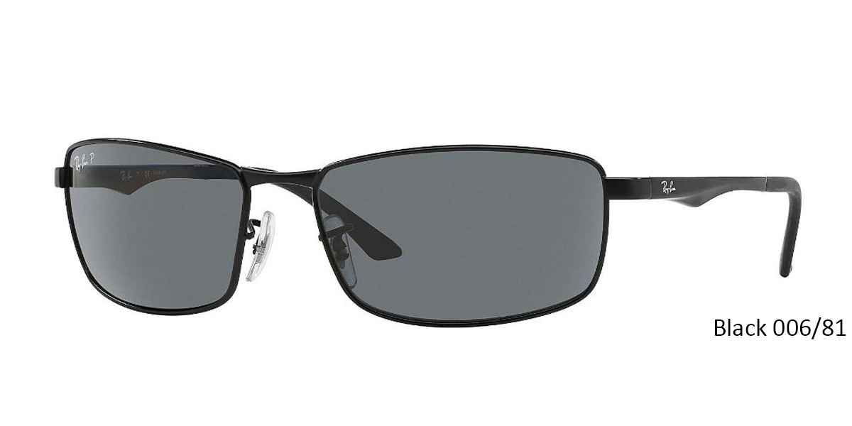 Black Grey Gradient 006/81 RayBan RB3498 Polarized Sunglasses