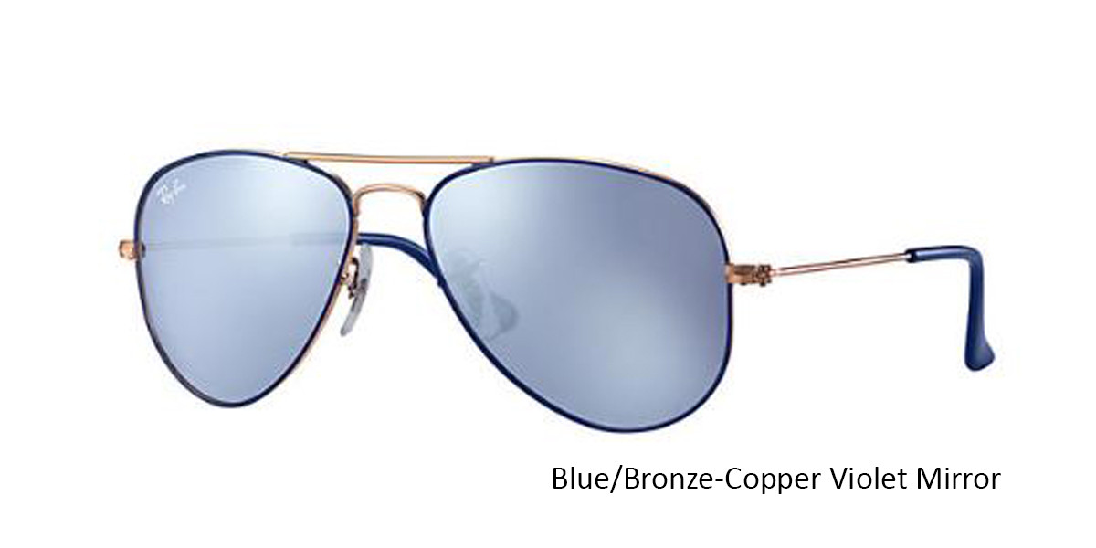 Blue/Bronze-Copper Violet Mirror RayBan RJ9506S Aviator Junior - Gold Sunglasses
