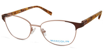 Shiny Light Brown Marcolin Eyewear MA5021 Eyeglasses.