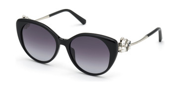 Shiny Black/Gradient Smoke Swarovski SK0279 Sunglasses