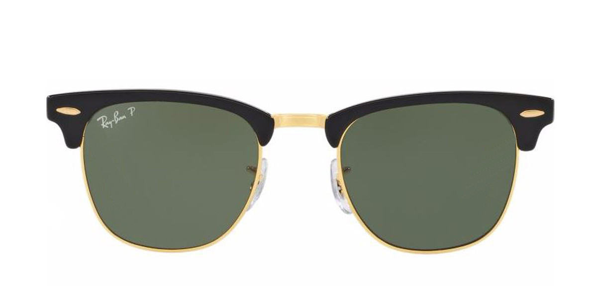 Black RayBan RB3016 Polarized Clubmaster Classic Sunglasses - Teenager (view)