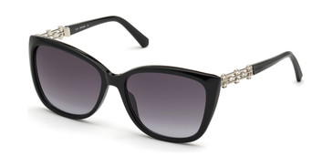 Shiny Black/Gradient Smoke Swarovski SK0291 Sunglasses