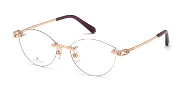 Shiny Rose Gold Swarovski SK5399 Eyeglasses