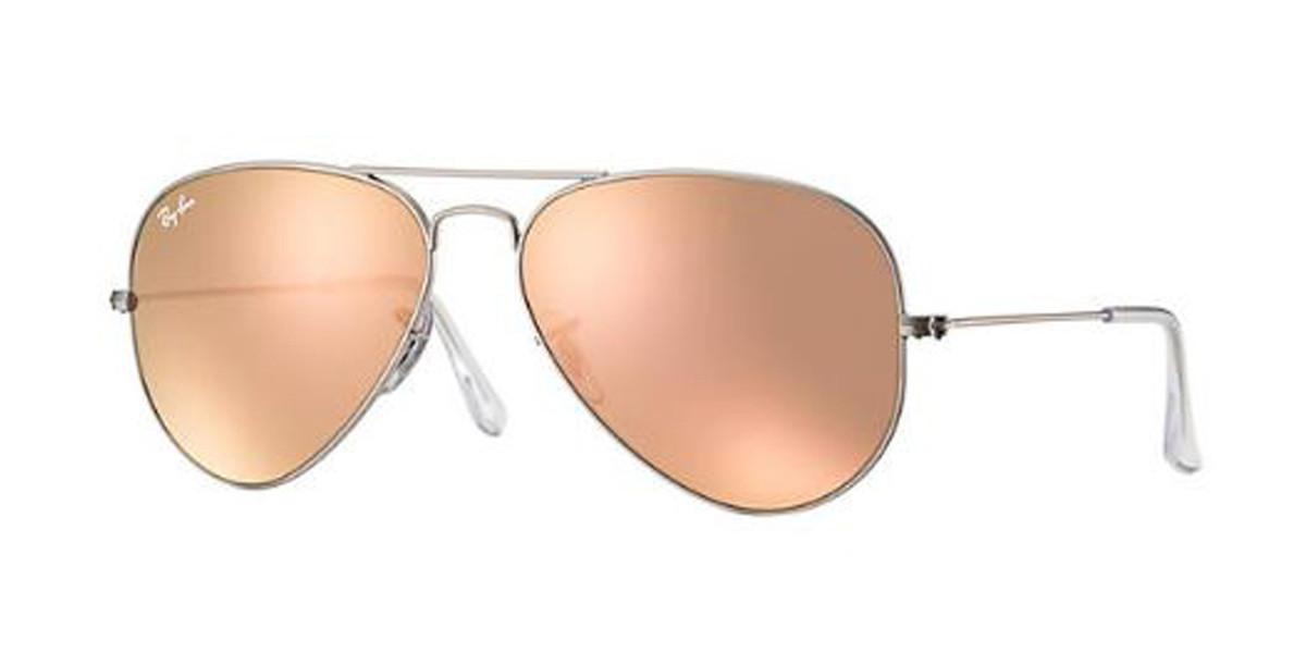 Silver Cooper Flash RayBan RB3025 Aviator Flash Lenses Sunglasses