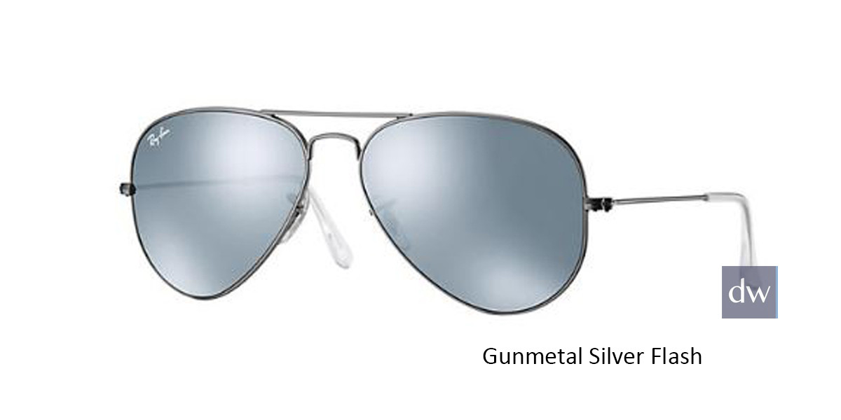 Gunmetal Silver Flash RayBan RB3025 Aviator Flash Lenses Sunglasses