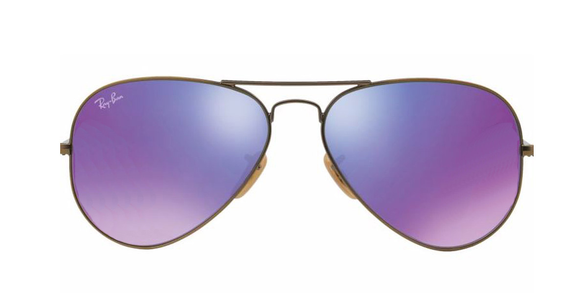 Bronze-Copper 167/1M  RayBan RB3025 Aviator Flash Lenses Sunglasses
