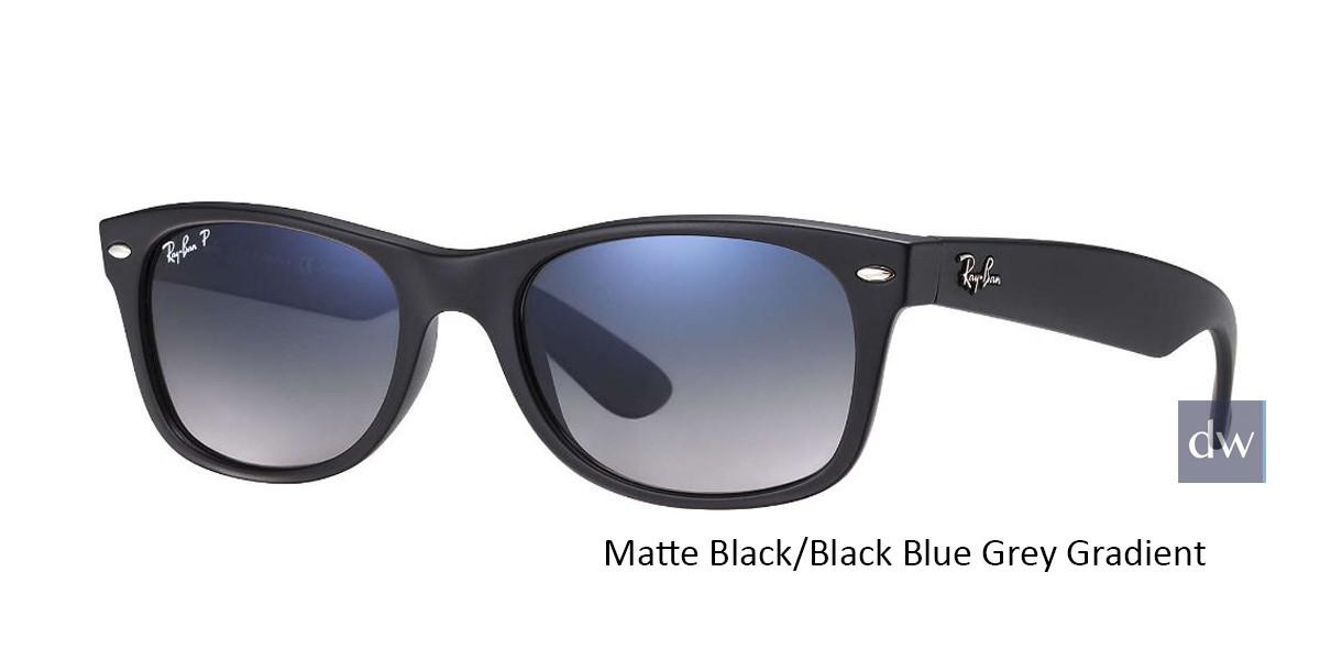 Matte Black/Black Blue Grey Gradient lenses RayBan RB2132 Polarized New Wayfarer Classic Sunglasses