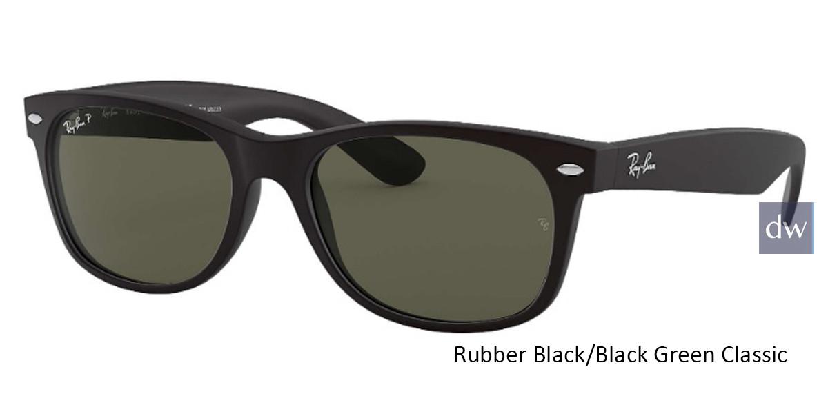 Rubber Black/Black Green Classic lenses RayBan RB2132 Polarized New Wayfarer Classic Sunglasses