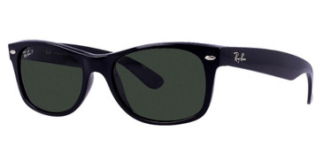 Gloss Black/Black Green Classic lenses RayBan RB2132 Polarized New Wayfarer Classic Sunglasses