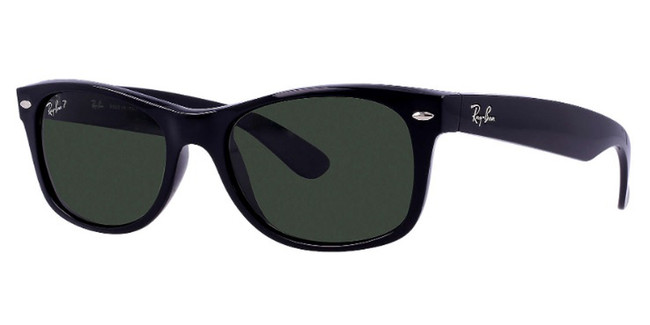 Gloss Black/Black Green Classic lenses RayBan RB2132 Polarized New Wayfarer Classic Sunglasses