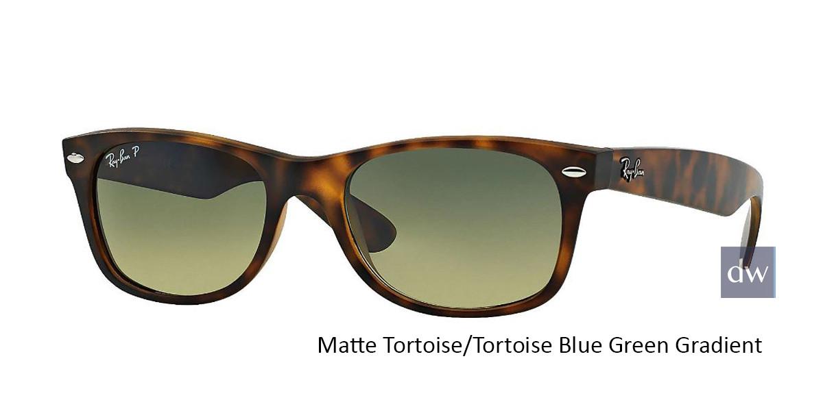 Matte Tortoise/Tortoise Blue Green Gradient lenses RayBan RB2132 Polarized New Wayfarer Classic Sunglasses