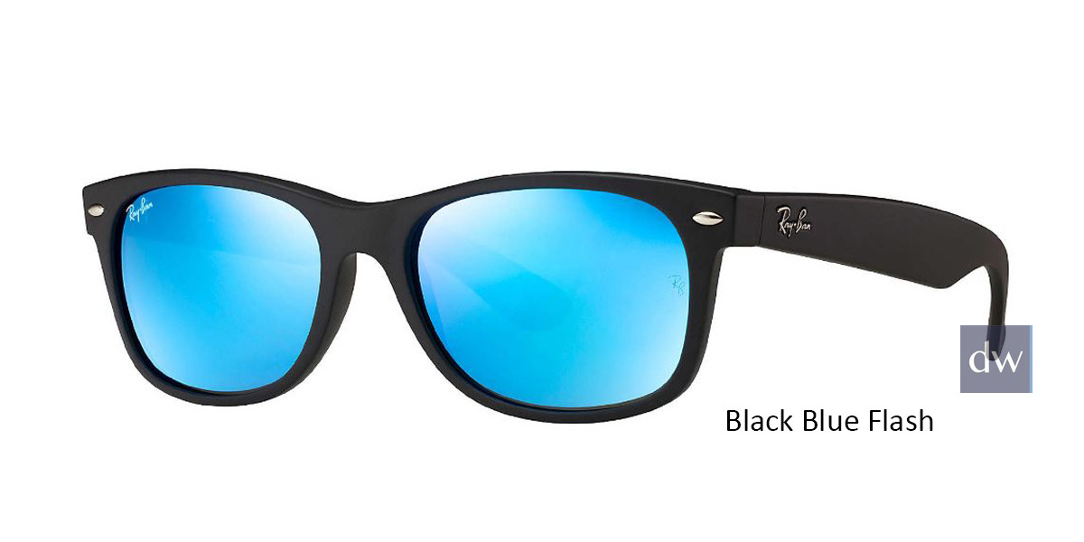 Black Blue Flash RayBan RB2132 New Wayfarer Flash Sunglasses