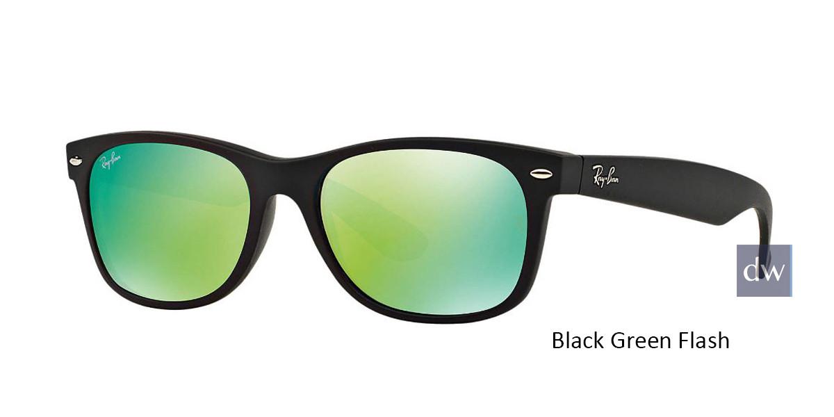 Black Green Flash RayBan RB2132 New Wayfarer Flash Sunglasses