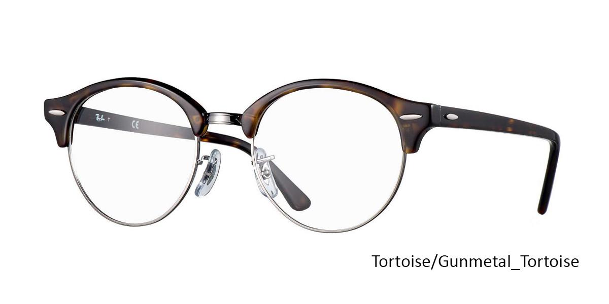 Tortoise/Gunmetal-Tortoise (2012) RayBan Clubround Optics RB4246V Eyeglasses - Teenager
