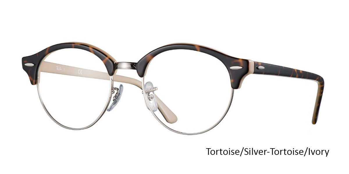 Tortoise/Silver-Tortoise/Ivory (5239) RayBan Clubround Optics RB4246V Eyeglasses - Teenager