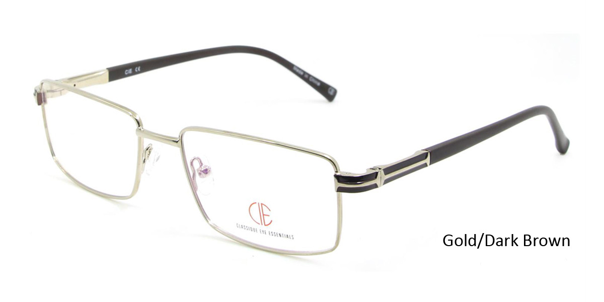 Gold/Dark Brown CIE SEC113 Eyeglasses.
