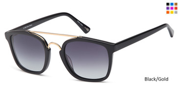 Black/Gold Capri JF 608 Sunglasses.