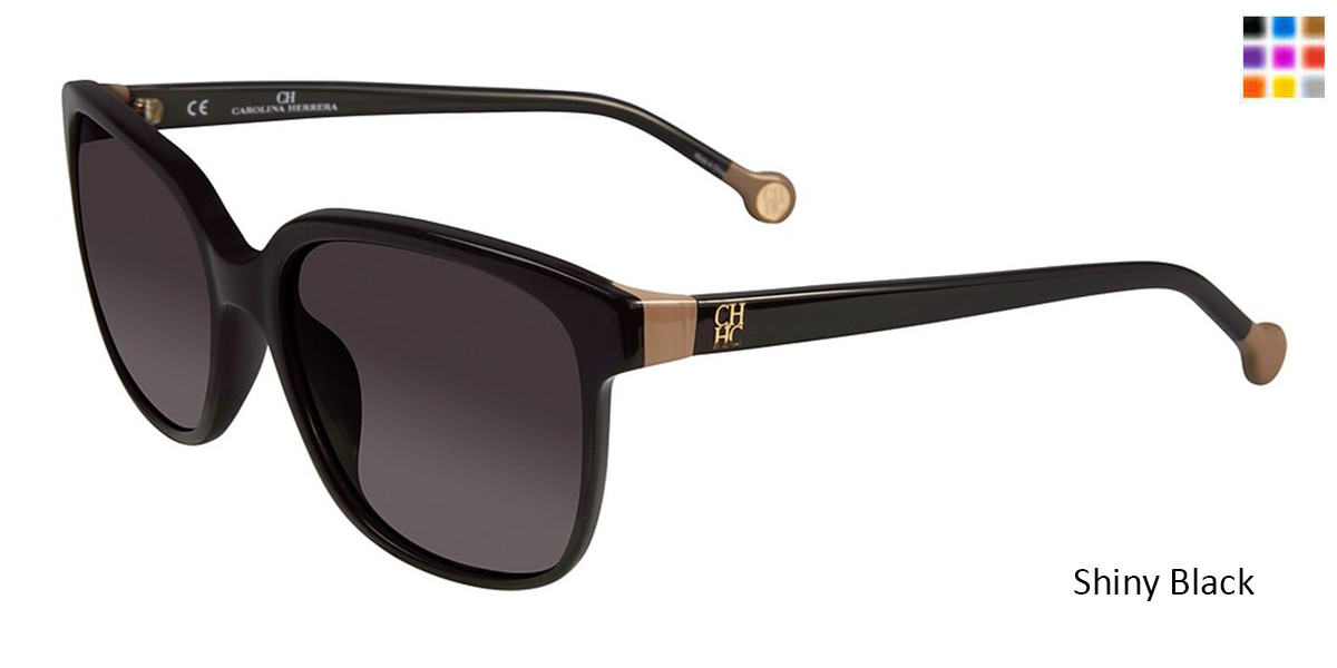 Shiny Black Carolina Herrera SHE687 Sunglasses.