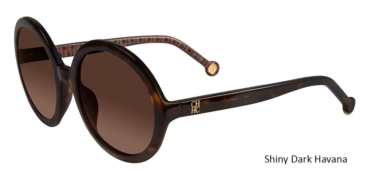 Shiny Dark Havana Carolina Herrera SHE696 Sunglasses.