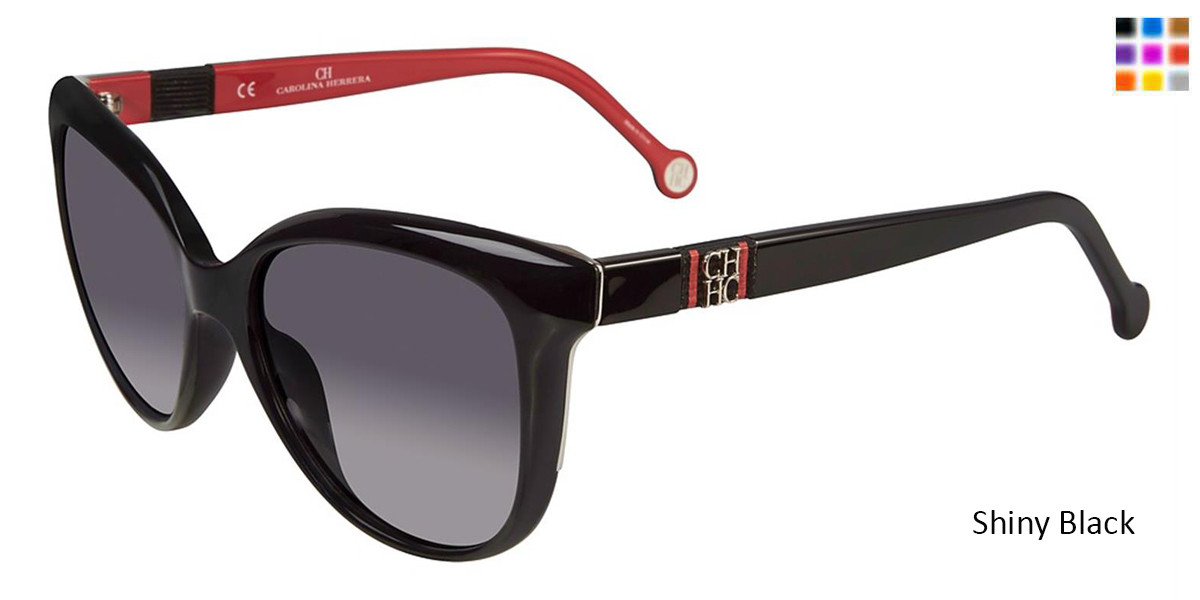 Shiny Black Carolina Herrera SHE697 Sunglasses.