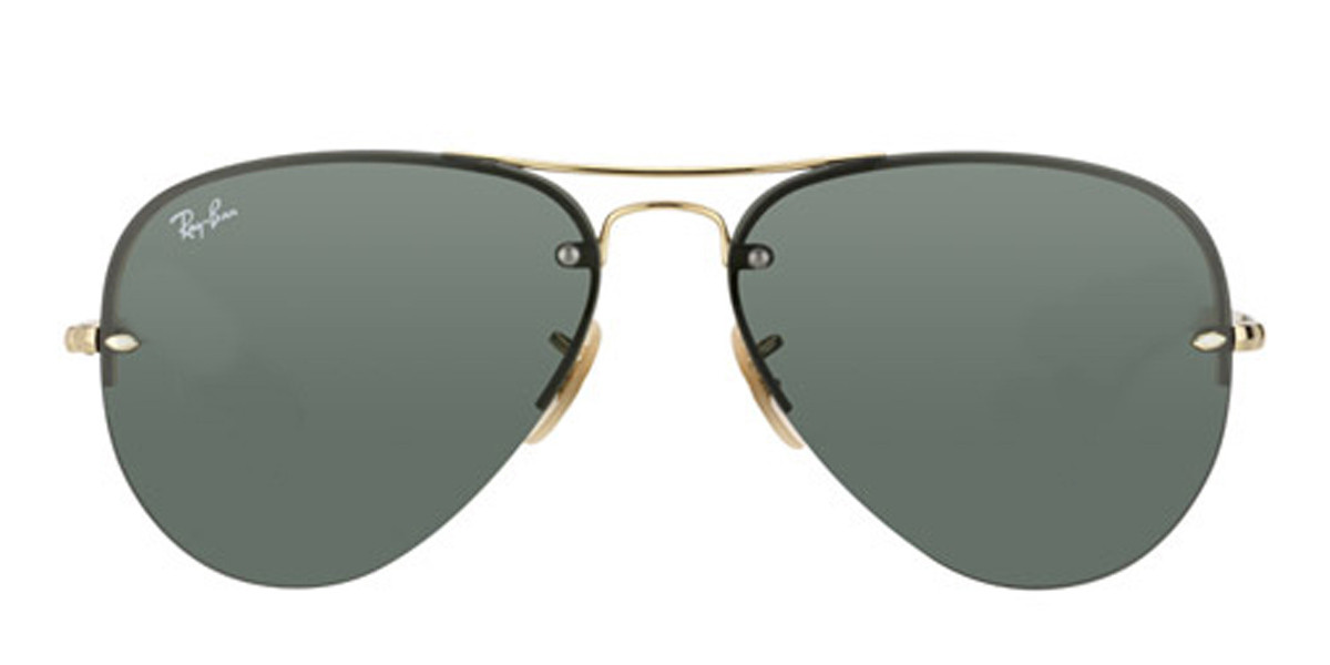 Gold/Arista HighStreet Rayban Sunglasses ORB3449, Front view.