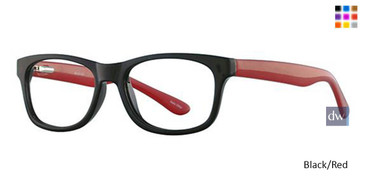 Black/Red Parade Q Series 1743 Eyeglasses - Teenager