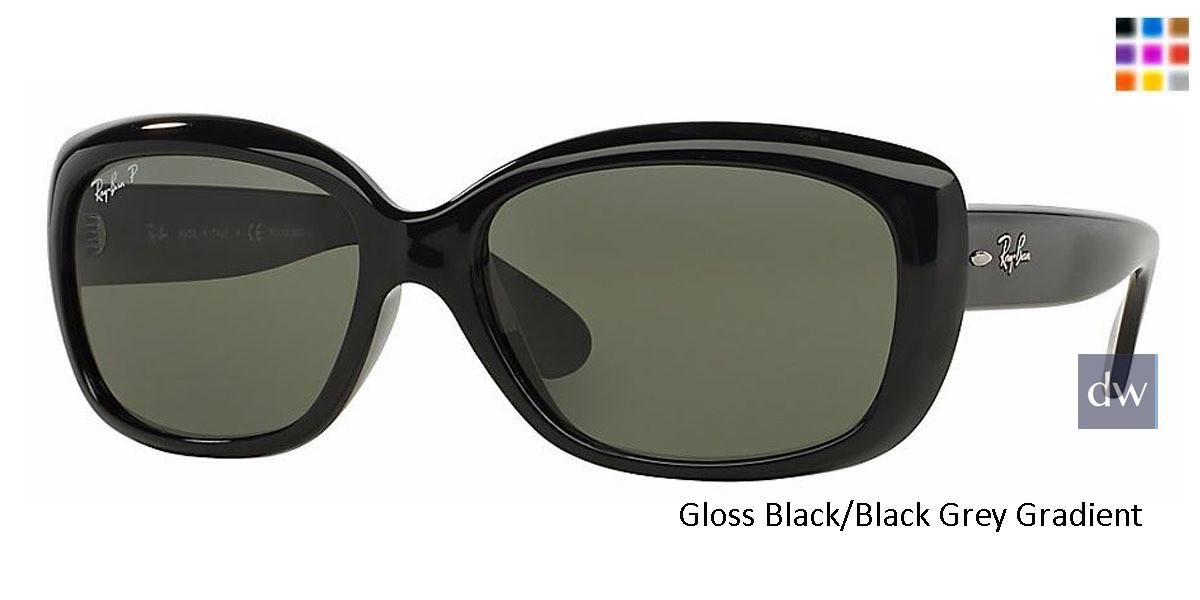Gloss Black/Black Grey Gradient lenses RayBan RB4101 Polarized Jackie Ohh Sunglasses