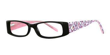 Black/Pink Leopard K12 4068 Eyeglasses - Teenager