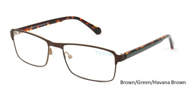 Brown/Green/Havana Brown C-Zone E5199 Eyeglasses.