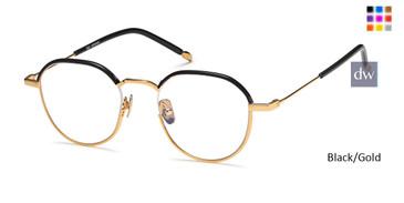 Black/Gold Capri AGO 1010 Eyeglasses - Teenager