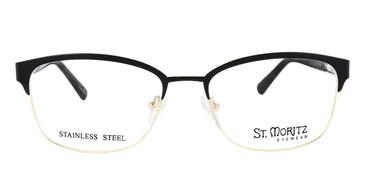 Black/Gold ST. MORITZ Cherie Eyeglasses.