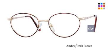 Amber/Dark Brown Elan 9154 Eyeglasses - Teenager