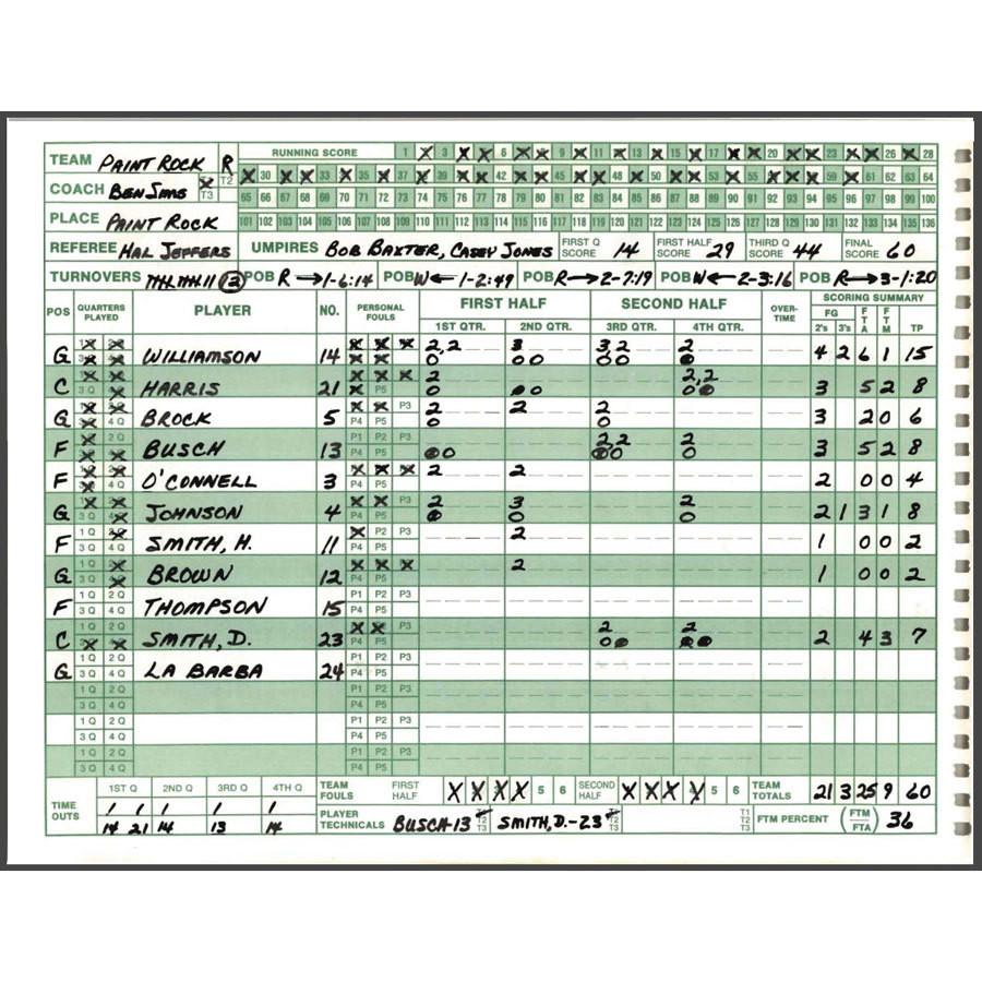 Basketball Scorebook Mark V BRAND 30 Games for sale online