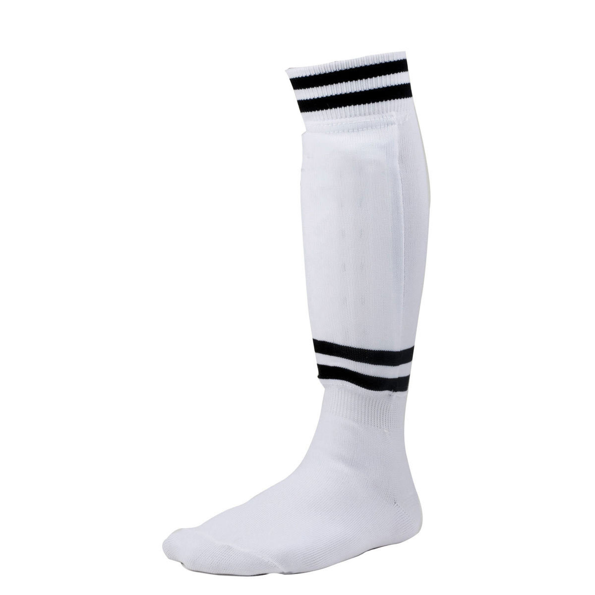 Champion Sports Sock-Style Shin Guards White