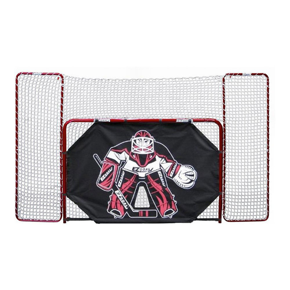 EZ Goal Folding Steel Hockey Goal with Backstop - Shooter Tutor & Targets